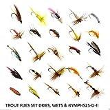 25ohne Widerhaken Fliegenfischen Fliegen Dry Wet Nymphe Signalempfänger 25-d- bar-bless–12