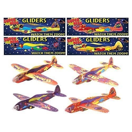 12 MINI SUPER HERO KIDS BOYS GLIDERS GOODY PARTY BAGS PINNATA FILLERS TOYS by Henbrandt