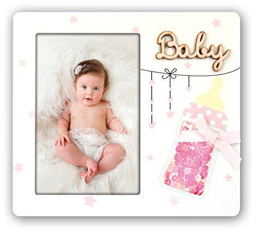 Cornice fotografica per bambini zep portafoto modello giovanni 10x15 con biberon (rosa)