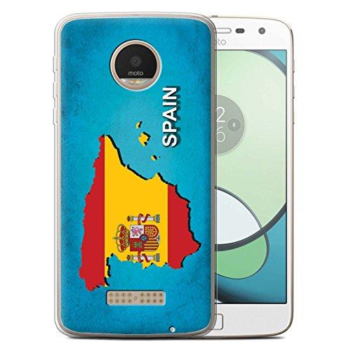 Stuff4® Carcasa/Funda TPU/Gel para el Motorola Moto Z Play/Droid / Serie: Naciones Bandera - España Español