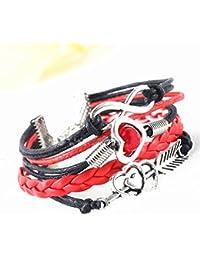 CargoMix® Armband Unendlichkeit Schwarz Rote Silber Leder-Seil / Infinity / Pfeil /Rote Perle / Herz / Freundschaft Armband Charm Mode-Legierung Damen Schmuck