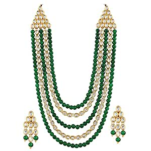 Shining Diva Gold Plated Jewellery Set for Women (Green) (8556s)