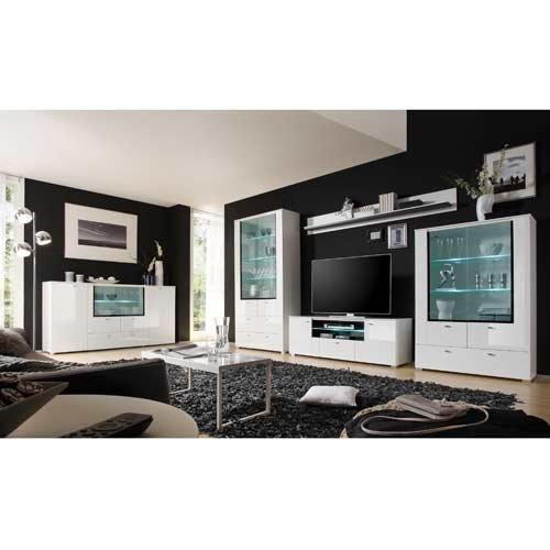 Wohnwand in Hochglanz weiß mit Grauglas und schwarzem Siebdruckrahmen, Gesamtmaße: B/H/T ca. 370(350)/203/40-45 cm - 2