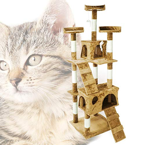 Albero tiragraffi per gatti beige 170cm con ripiani cuccette scalini Gioco per gatto