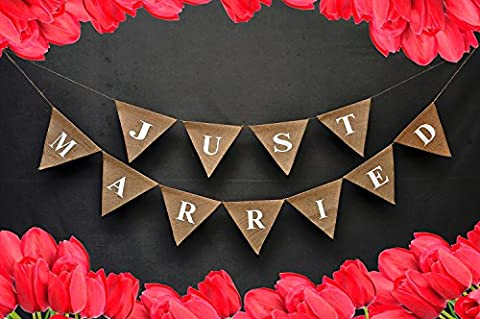 JUST MARRIED Burlap-Just Married Car Sign-Wedding Banner-Champagne Engagement Party Décor With Red Hearts On Both The Ends-Wedding Engagement Bunting #B_BAN_46