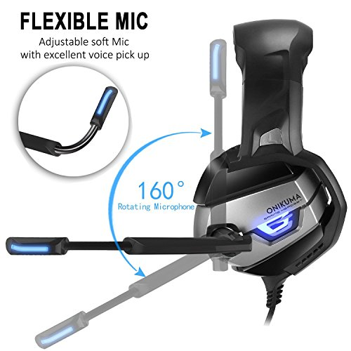 Auriculares Gaming AxCella Auriculares para Juego con Micrófonos y Jack de 3 5 mm Cascos Gaming Cascos con Sistema de Control de Volume para PS4 Xbox One PC Tablet Laptop (Negro + Gris)