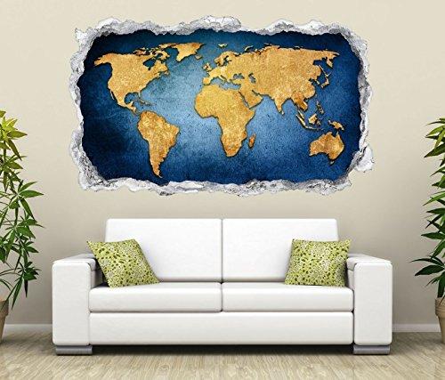 3D Wandtattoo Durchbruch Weltkarte Welt Europa Globus Karte Wand Aufkleber Wanddurchbruch sticker selbstklebend Wandbild Wandsticker Wohnzimmer 11O2399, Wandbild Größe F:ca. 162cmx97cm Europa Karte Aufkleber