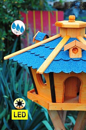 Vogelhaus Massivholz,Massiv-WETTERFEST, mit Beleuchtung,Solar-LED mit Silo/Futtersilo für Winterfütterung,Gartendeko Vogelhäuschen, mit Silo / Futtersilo für Winterfütterung -Holz Nistkästen & Vogelhäuser- Futterhaus ohne Ständer blaue Dachschindeln BRL45blOS Bitumen - 3