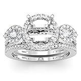 Damen Ring / Ehering 1.00 Karat 18 Karat Weißgold Rund & Pear Diamant Semi Mount Verlobungsring Set 1 Karat