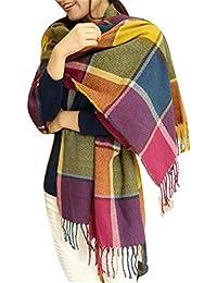 Bufanda estilo chal para mujer, grande, de 60 x 190 cm, a cuadros Para primavera, otoño e invierno.