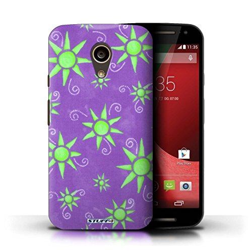 Kobalt® Imprimé Etui / Coque pour Motorola Moto G (2014) / Vert/Blanc conception / Série Motif Soleil Violet/Vert