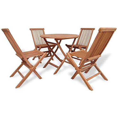 LD Teck 5 Panneaux en Bois Massif. Ensemble siège Groupe Bois Ensemble 1 Table et 2 chaises de Jardin
