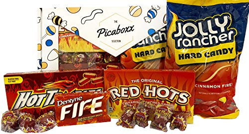 Picaboxx Cinnamon Spicy Hot American Candy Selection Gift Box ★ 11 Products Value Pack ★ American Candy Hamper ★ Sweet Gift Box with Display Window (Food Display Hot)
