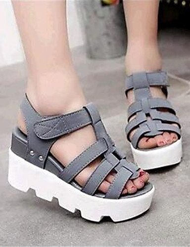 UWSZZ Die Sandalen elegante Comfort Schuhe Frau - Sandalen - Formale/Casual-Toe Ring - Kunstleder - Schwarz/Gelb, Gelb-US 8 / EU 39/UK6/CN 39, gelb-US 8 / EU 39/UK6/CN 39 Black