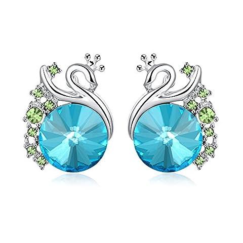 FushoP Boucles d'oreilles en cristal de diamant en cristal de perles pour femmes (Platine plaqué)
