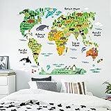 Vovotrade Carte du monde animal amovible Decal Art Mural Home Decor Stickers muraux