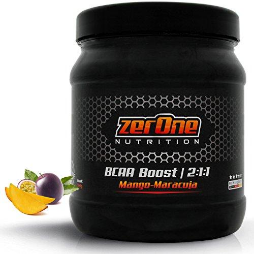 ZerOne Bcaa Boost Hochdosiertes Pulver Aminosäuren Leucin Isoleucin Valin 2:1:1 Deutsche Premium Qualität Fitness Sport 500g (Mango-Maracuja)