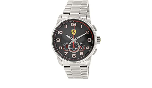 aa39b0c614d Scuderia Ferrari Men s 830065 Analog Display Japanese Quartz Silver Watch   Amazon.co.uk  Watches