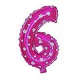 """sourcingmap® 16"""" Fucsia Numero foglio 6 forma palloncino elio festa compleanno decorazioni per matrimoni"""