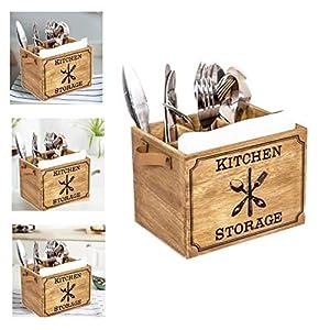 BALLSHOP Braun Holz Besteckkorb Barrel Besteckbehälter Besteckfass Besteckkasten