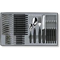 Victorinox 24 teiliges Besteck-Set (6 Tafelmesser mit Wellenschliff, 6 Gabeln, 6 Löffel, 6 Kaffeelöffel, Spülmaschinengeeignet) schwarz