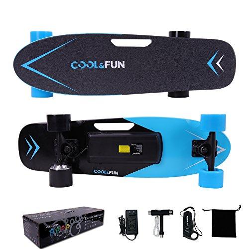 Cool & Fun Skateboard Eléctrico de 4 ruedas Monopatín con Control Remoto (Azul)