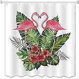 A.Monamour Blanco Telón De Fondo Verde Tropical Hoja Flor Rosa Flamingo Par Besando Romántico