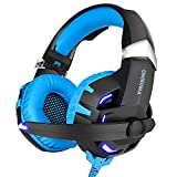 Sannuo casco gaming-casque Gamer para Pubg/DOTA2/Csgo, sonido surround Virtual 7.1 con LED luz, sonido dinámico, cojín de confort azul azul