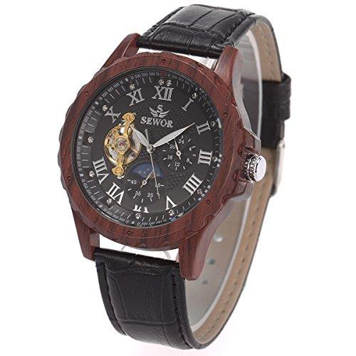 Herren Armbanduhr - Mond Sonne Phase ManChDa Dunkel Holzmaserung Fall Automatisch Mechanisch Uhr für Männer Schwarz Leder Band + Geschenkbox