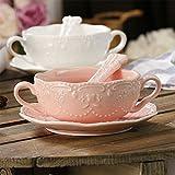 Touch Life Elegante tazza da colazione con piattino e cucchiaio Pink