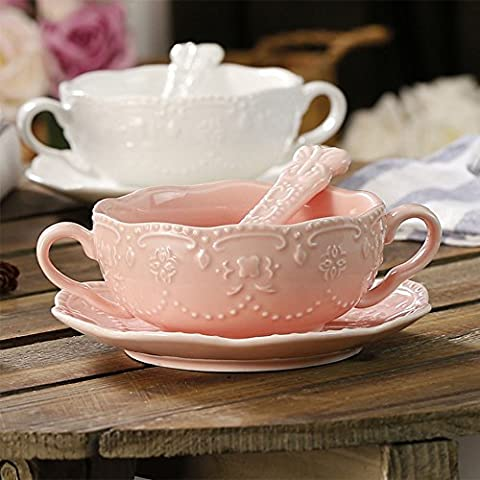 White Ceramic Breakfast Cup Dessert Bowls Soup Mug Soup Jug And Saucer with Twins Handles Ceramic Soup Bowls With Handles,Pink circular saucer with spoon
