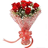 The FloralMart TFM Fresh Flower Red Roses Bouquet in Cellophane Wrapping , Bunch of 08