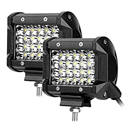 LE 4in 72W Off-Road LED Work Light, IP68, 30° Beam Spotlight, 5200lm Each Lamp, Daylight White, Vehicle Driving Lighting, Pack of 2