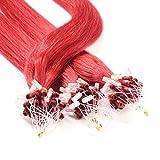 hair2heart 50 x Microring Loop Extensions aus Echthaar, 40cm, 0,5g Strähnen, glatt - Farbe rot