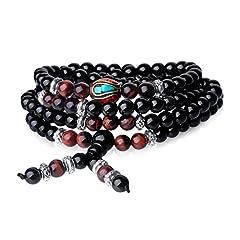 Idea Regalo - Tibetano multistrato Ossidiana Mala Preghiera Perline Braccialetto con occhio di tigre 6mm