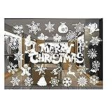 ODJOY-FAN Weiß Entfernbar Fenster Aufkleber Weihnachten Wandtattoos Restaurant Einkaufszentrum Dekoration Wandbilder Schnee Glas Wandaufkleber(F,1 PC)