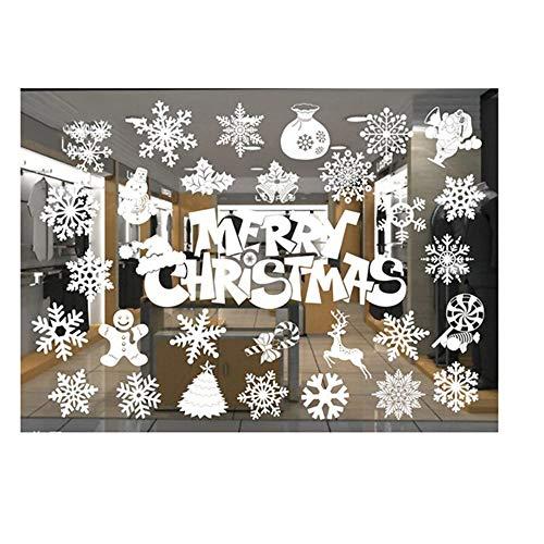 ODJOY-FAN Weiß Entfernbar Fenster Aufkleber Weihnachten Wandtattoos Restaurant Einkaufszentrum Dekoration Wandbilder Schnee Glas Wandaufkleber(F,1 PC) (Schnee, Thema, Dekorationen)