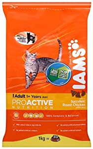IAMS Adult Chicken Dry Cat Food 1 kg (Pack of 4)