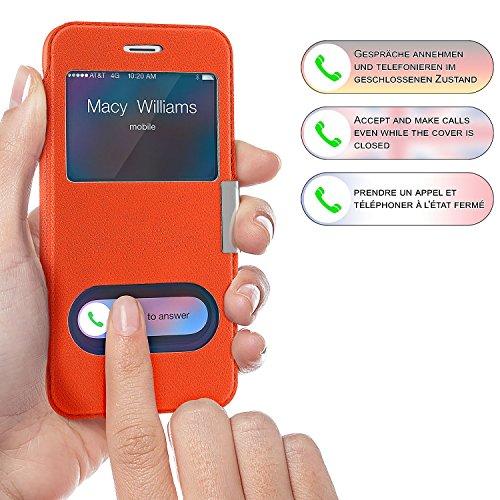 iPhone 6S Hülle Orange mit Sicht-Fenster [OneFlow Window Cover] Schutzhülle Ultra-Slim Handyhülle für iPhone 6/6S Case Flip Handy-Tasche Stand-Funktion ORANGE