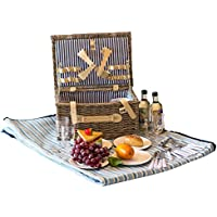 ALLCAMP - Cesta para mimbre de 4 personas con cestas de picnic, platos y vasos de vino (marrón)