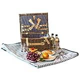 ALLCAMP 4 Personen Wicker Picknickkorb Hamper Set mit Besteck, Teller und Weingläser (braun)