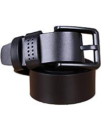 Panegy - Cinturón de Cuero piel básico con Hebilla para Hombres - negro marrón café - 120cm 125cm 130cm 135cm