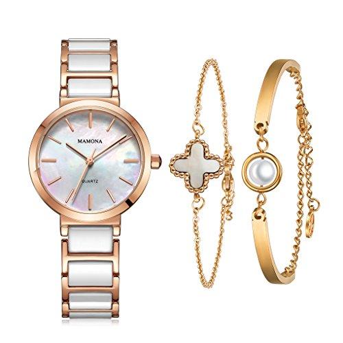 MAMONA Damen Quarzuhr & Armband Geschenke Set Perlmutt Ziffernblatt analoger Bildschirm Keramik Edelstahl Frauen Rose Gold L3876RGGT