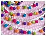YYCRAFT Rainbow Pom Pom Ball fringe Trim Ribbon Sewing 4.5 metres(5 Yards)