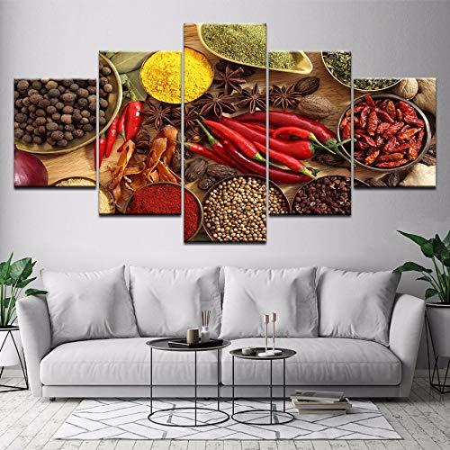 xzfddn Wohnkultur Wandkunst Poster Druckt 5 Panel Löffel Körner Gewürze Paprika Leinwand Malerei Küche Modulare HD Lebensmittel Bild