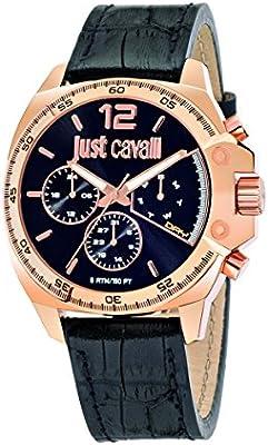 Just Cavalli R7251213001 - Reloj con correa de piel para hombre, color negro / gris