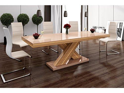 H MEUBLE Table A Manger Design Extensible 160÷210 CM X P : 89 CM X H: 75 CM – Cappuccino