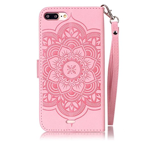 Stand Hülle für iPhone 7 Plus,Wallet Hülle für iPhone 7 Plus,Flip Hülle für iPhone 7 Plus Lederhülle Handyhülle TPU Tasche Case,EMAXELERS Cool Reifen Muster iPhone 7 Plus 5.5 inch Hülle stoßfest Schwe A Campanula Hand 2