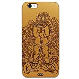 Inkad Apple iPhone 6 / 6s Pure Maple Wood in Dude on Hoverboard Laser Engraved on Mobile Case Cover (Gold)