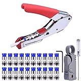 Bild des Produktes 'Kompressionszange Set,Crimpzange Abisolierwerkzeug RG59/RG6 mit 20 stück Kompressions-F-Stecker für SAT Kabel '